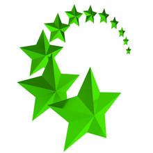 Eleven Green Stars On White Background