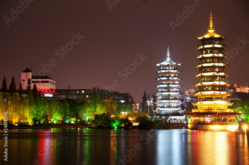 Guilin: double pagode towers.