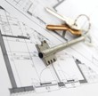 Architecture plans with house keys