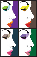 Panel SzklanyBeautiful woman face illustration