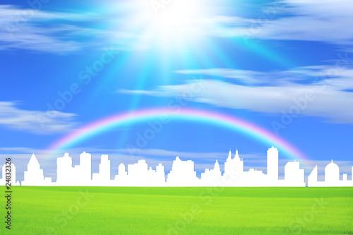 Poster Gris 街並みと光と虹