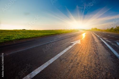 Obraz na plátne road to the sunset