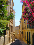 Flowers lining a narrow street in old Montpellier, France - 24858370
