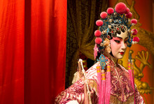 Chinese Opera Dummy And Red Cloth As Text Space