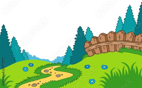 Poster Lime groen Cartoon country landscape