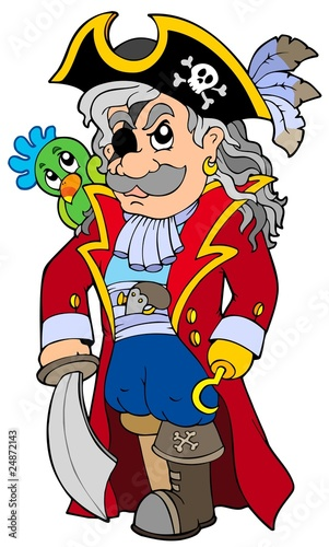 Poster de jardin Pirates Cartoon noble corsair