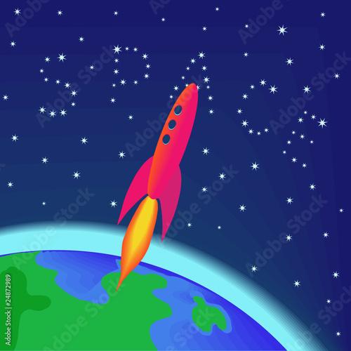 Foto op Canvas Kosmos Rocket flying into space