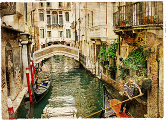 Fototapeta channels of Venice - artwork in painting style