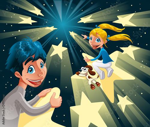 Foto op Canvas Kosmos Intergalactic journey on the stars.Vector illustration