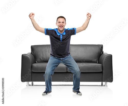 A view of a happy sport fan against white background Wallpaper Mural