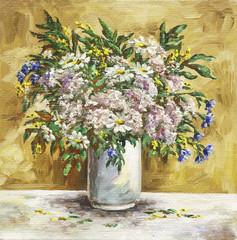 Fototapeta Malarstwo Camomiles, cornflowers, origanum