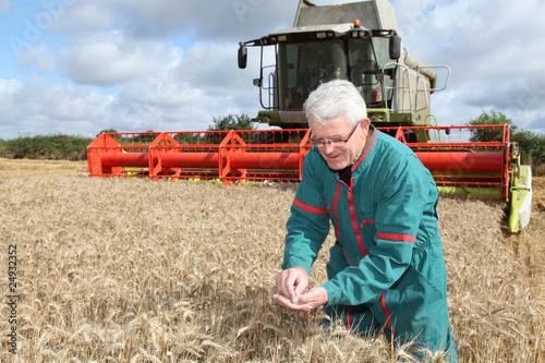 Fotografie, Obraz  argriculteur dans un champ de blé