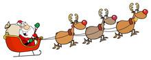 Christmas Santa Clause Sleigh And Reindeer
