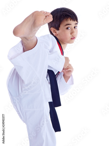 Deurstickers Vechtsport child training martial arts isolated on white background