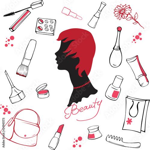 Fotografie, Obraz  Set of various cosmetic items