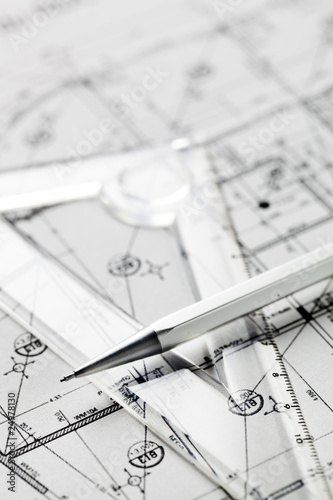 Fotografía  plan d'architecte en gros plan