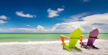 Colorful Chairs At A Trpoical Beach In Miami Florida