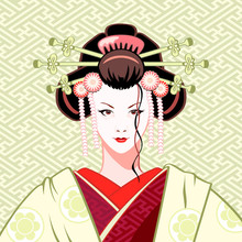 Modern Attractive Geisha Portr...