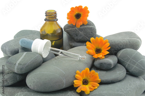 Plissee mit Motiv - steine mit ringelblume und tropfflasche
