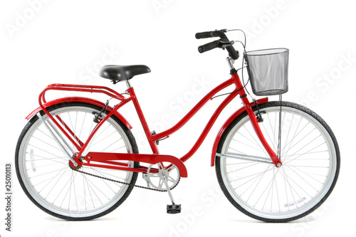 Fotografie, Obraz  Red Bicycle over white background