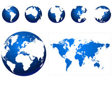 Global Icons And Map Blue And ...