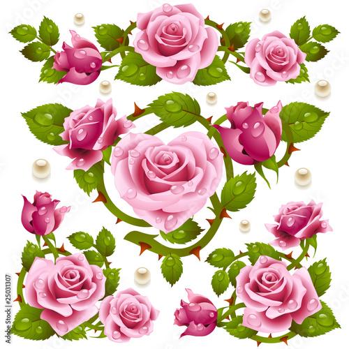 Pink Rose design elements
