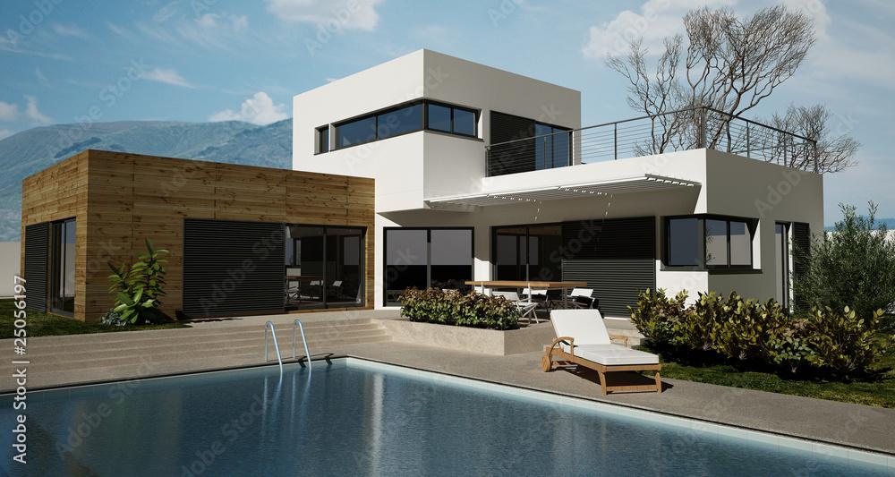 Fototapeta Maison en bois avec piscine