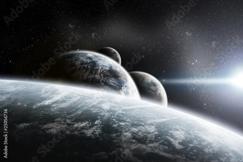 Fantasy space planets illustration with nebula