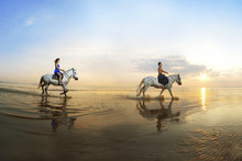 Couple In Love, Which Is Galloping On A Horse Of The Sea At Suns