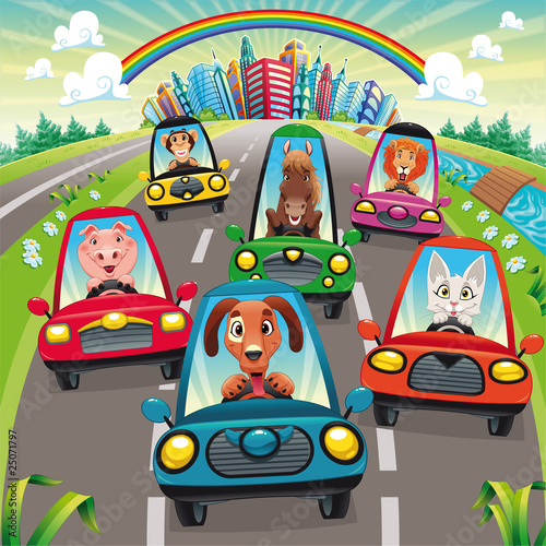 Staande foto Cartoon cars Traffic on the road. Vector illustration, isolated objects.