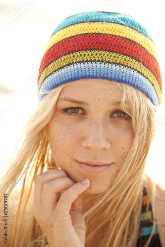 Beautiful young blonde girl in rastafarian hat - Buy this stock ... eed77453131b