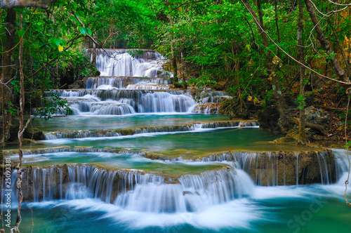 In de dag Watervallen Deep forest Waterfall in Kanchanaburi, Thailand