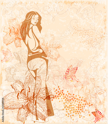 Poster Doodle floral background with girl