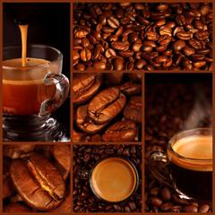 Panel Szklany Do kawiarni Espresso coffee collage