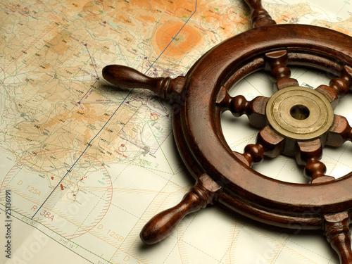Türaufkleber Schiff navigation map