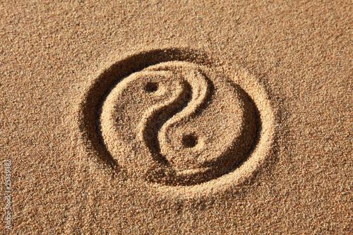 Yin & Yang in Sand Canvas Print