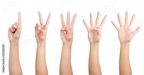 Foto  1 2 3 4 5 finger