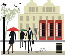 London Telephone Booth Illustration