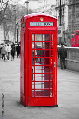 Red telephone booth in London Poster