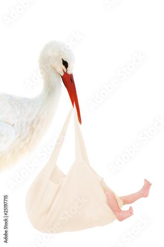 Carta da parati Storch mit Baby im Leinenbeutel