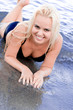 woman lying in water