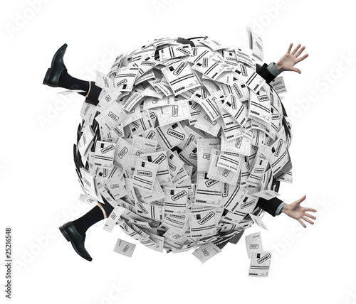 Fotografía  Businessman buried in sphere of financial invoices