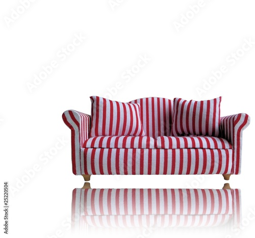 Red and White Stripes Sofa with reflection - Buy this stock ...
