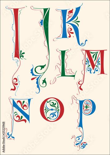 Fotografie, Obraz  Medieval alphabet I-P