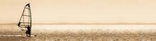 Sepia Toned Windsurfer Panorama