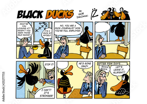 Spoed Foto op Canvas Comics Black Ducks Comic Strip episode 55