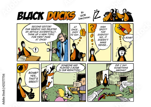 Spoed Fotobehang Comics Black Ducks Comic Strip episode 53