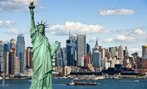 Poster New York tourism concept new york city with statue liberty