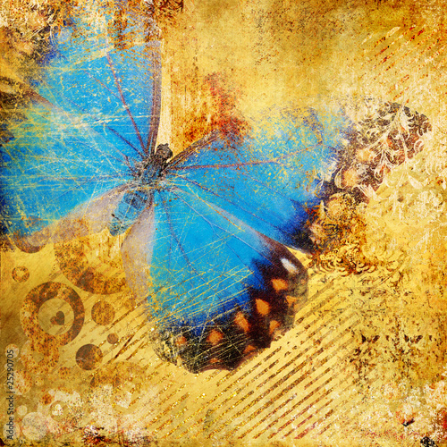 Fotobehang Vlinders in Grunge golden abstraction with blue butterfly