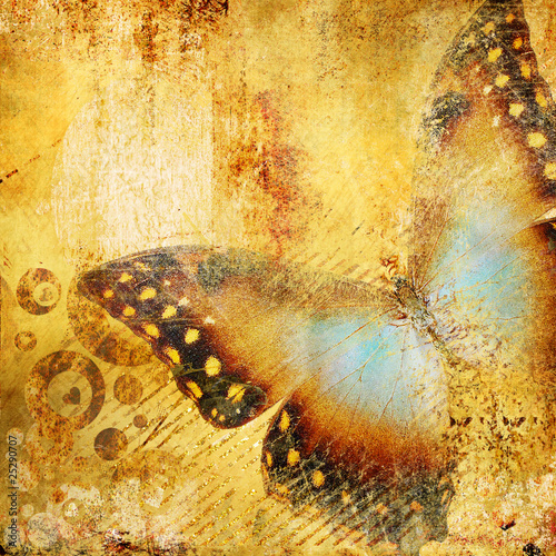 Foto auf Gartenposter Schmetterlinge im Grunge beautiful golden abstraction with butterfly